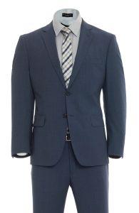 Cosani Blue Classic Fit Wool Sharkskin Suit