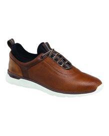 Johnston & Murphy Nubuck Leather Prentiss U-Throat Plain Toe Mahogany Sneaker