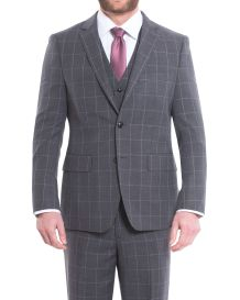 Hollywood Suit Charcoal Modern Fit Windownpane Vested Suit