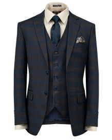 Hollywood Suit Vested Navy Chocolate Modern Fit Suit