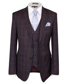 Hollywood Suit Vested Burgundy Modern Fit Suit
