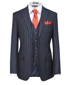 Hollywood Suit Stretch Navy Power Pin Modern Fit Vested Suit