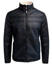 Hollywood Suit Navy Vegan Leather Shearling Jacket