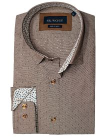 Hollywood Suit Brown Dotted Textured Long Sleeve Floral Cuff Contrast Sport Shirt