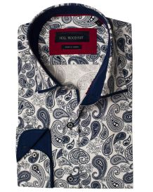 Hollywood Suit Navy Paisley Print Long Sleeve Navy Cuff Contrast White Sport Shirt