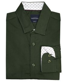 Hollywood Suit Dark Olive Polka Cuff Dress Shirt